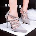 Бесплатная доставка новый крест ремнями пряжки на высоких каблуках сандалии Римских сандалий покрытие совет