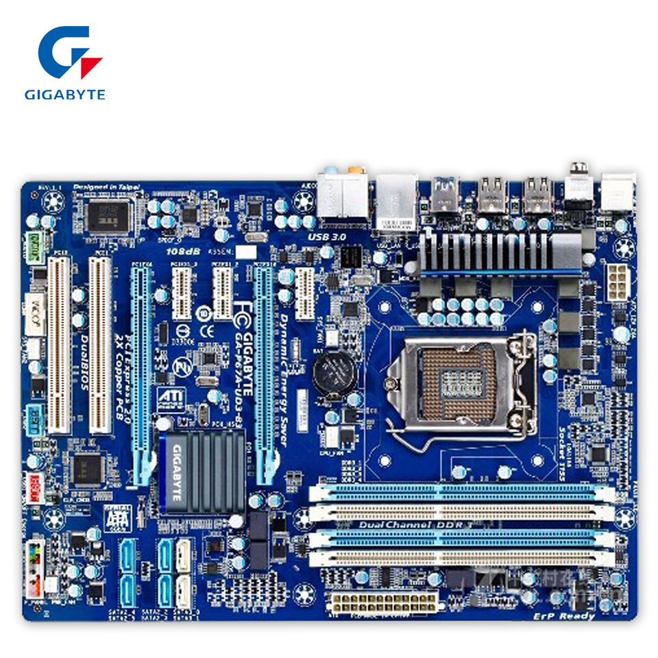 Gigabyte GA-P67A-UD3-B3 Original Used Desktop Motherboard P67A-UD3-B3 P67 LGA 1155 i3 i5 i7 DDR3 32G SATA3 ATX gigabyte ga 8i945plg original used desktop motherboard 945 lga 775 ddr2 atx