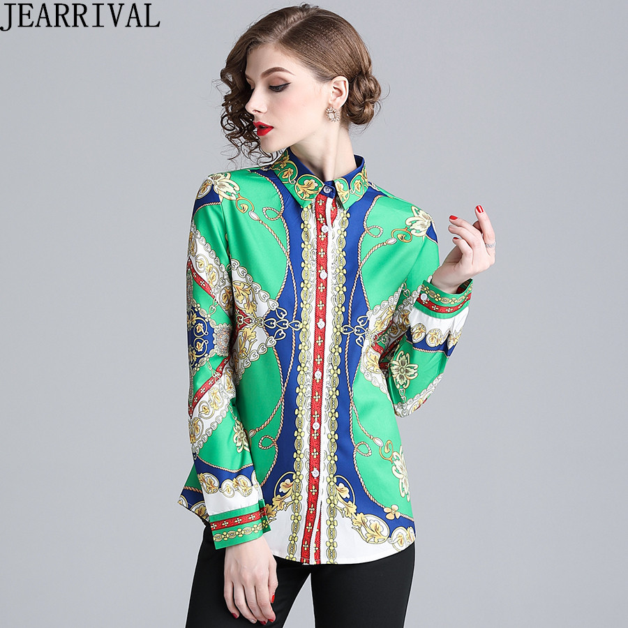 Luxury Vintage Print Shirt Women Long Sleeve Tops Runway Blouse 2018 New Designer Retro Slim Casual Shirts High Quality Blusas
