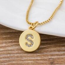 Hot Sale Wholesale Women Girls Gold Initial 26 Letters Necklace Long Charm Personal Necklace Pendants Copper CZ Jewelry