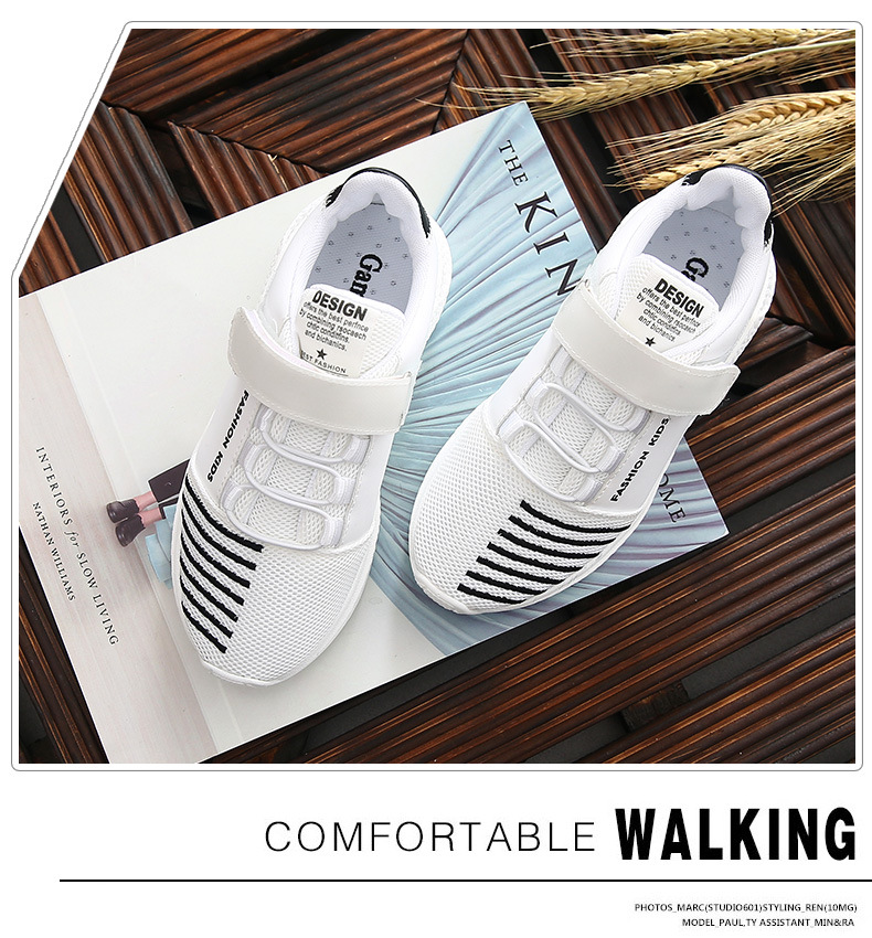 WENDYWU 2017 small children shallow shoes Summer boys and girls shoes white hollow mesh running children breathable net sports