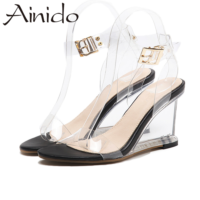 High Size 5 Heel Wedge Color Sandals Clear