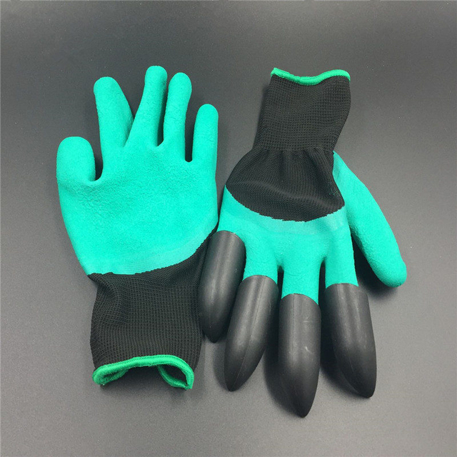 5Pairs free shipping Garden genie Gloves with 4 ABS Plastic Claws Gardening work Gloves for Digging Planting glove wholesale