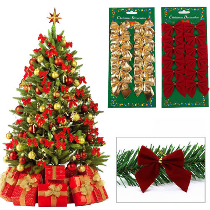 12 Pcs/Lot 5CM Bowknot Christmas Tree Ornaments 2017 New Year Decor Cristmas Baubles Xmas Craft Christmas Decorations For Home