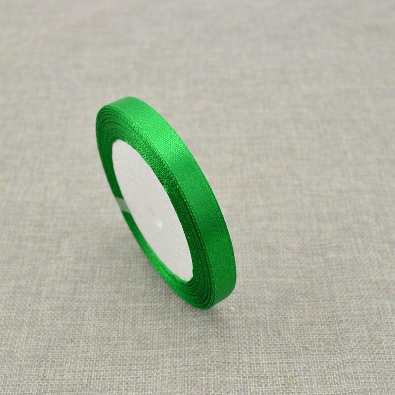 10 мм, 25 ярдов, шелковая атласная лента для свадебного автомобиля, ручная работа, Подарочная коробка для конфет, материалы для украшения, рождественские ленты - Цвет: green