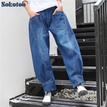 Sokotoo женская повседневная карман лоскутное шаровары Свободные толстые джинсы Лодыжки объединились брюки