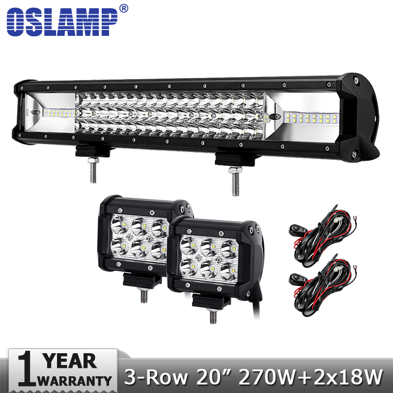 Oslamp 3-row 20 270W LED Offroad Light Bar Combo+2pcs 18W Spot Flood Led Work Lights Truck SUV ATV 4x4 4WD 12v 24v Driving Lamp popular led light bar spot flood combo beam offroad light 12v 24v work lamp for atv suv 4wd 4x4 boating hunting