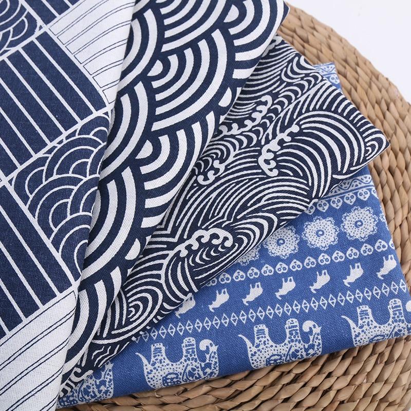 Japonský styl bavlněné prádlo DIY tkanina oceánská vlna tiskne tradiční čínská tkanina pro výrobu kimona / Han Custome