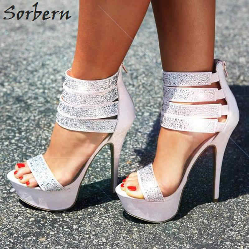Sorbern Light Pink Ankle Wrapped Sparked Crystals Custom Color Sunmer Open  Toe Black Plus Size Shoes 87e7a7a86c3a