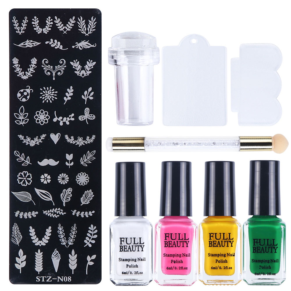 1 Set Nail Art Stamping Polish+Stamping Plate+Stamper+Scraper Image Painting Stencil For Nails Colorful Gel Varnish Kit LA797