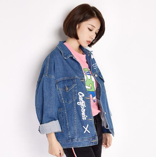 2018 Plus Size Women Jacket New Casual Autumn Letter Jean Coat 6XL Blue Cotton Turn-down Collar Outwear Loose Jacket