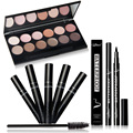 Qibest Hot waterproof Eye Makeup set Eyeshadow Palette Eyelashes Brush Mascara Eyeliner Pen Cosmetics Tool With Free Shipping
