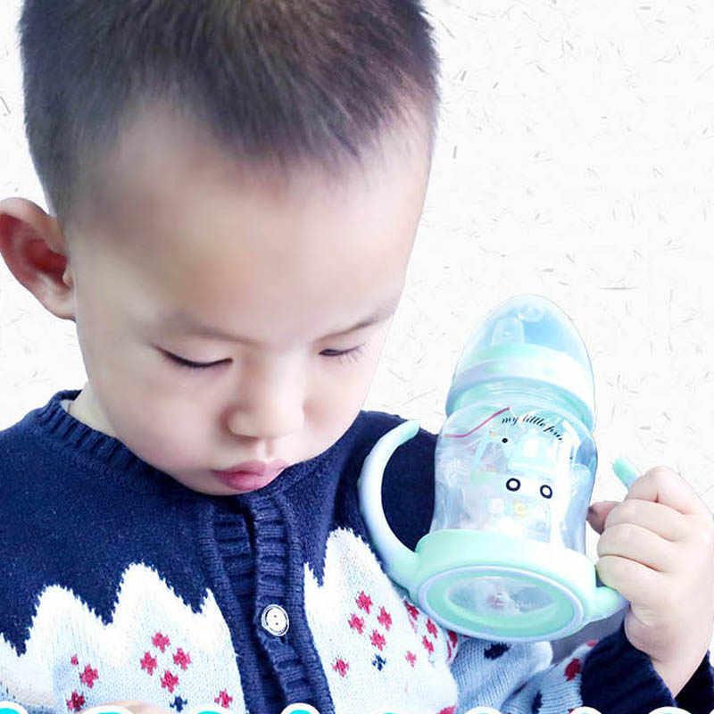 250ML חמוד תינוק באיכות האכלת בקבוק קש דפוס אופי כוס שתיית בקבוק כוסות עם ידיות & 2 פטמות