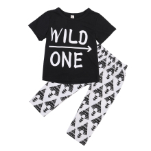 2pcs Newborn Toddler Kids Baby Boys Clothes Outfits Black Letter WILD ONE Short Sleeve T-shirt Tops Print Long Pants Set 2-6T