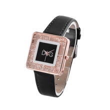 New Luxury Brand Rectangle Dial Rolling Beads Quartz Watch Women Leather Strap Watches Ladies Relogio Feminino Hot Clock