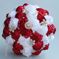 Wine Red White Artificial Wedding Bouquets Jewelry Pearl Brooch Bouquet Supplies Marriage Wedding Holding Flowers Burgundy W251