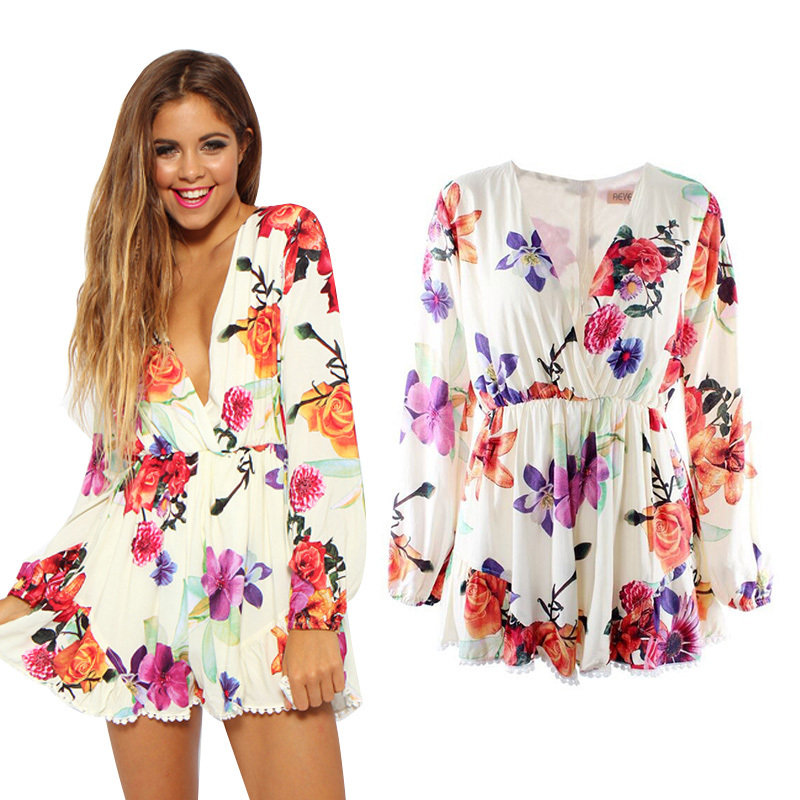 b1e60ae3ad Fashion Women s Deep V Neck Floral Print Jumpsuits Long-Sleeve Playsuits  Ladies Summer Rompers Pants New Free Shipping