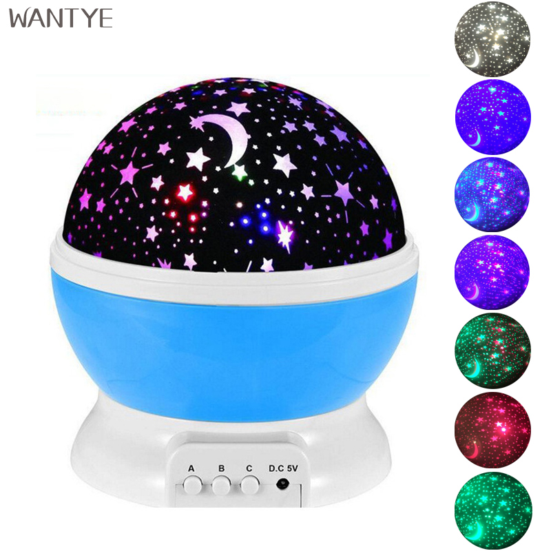 Star Rotating LED Night light Starry Sky Projector Novelty Table Lamps for Bedroom Kids Baby room USB Moon Night Lamp Projection 7colors led night light starry sky remote control ocean wave projector with mini music novelty baby lamp led night lamp for kids
