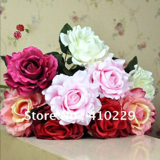 Free Shipping (10pcs/lot) 5 Colors 1 Head Rose Artificial Flower, Wedding & Home Decoration