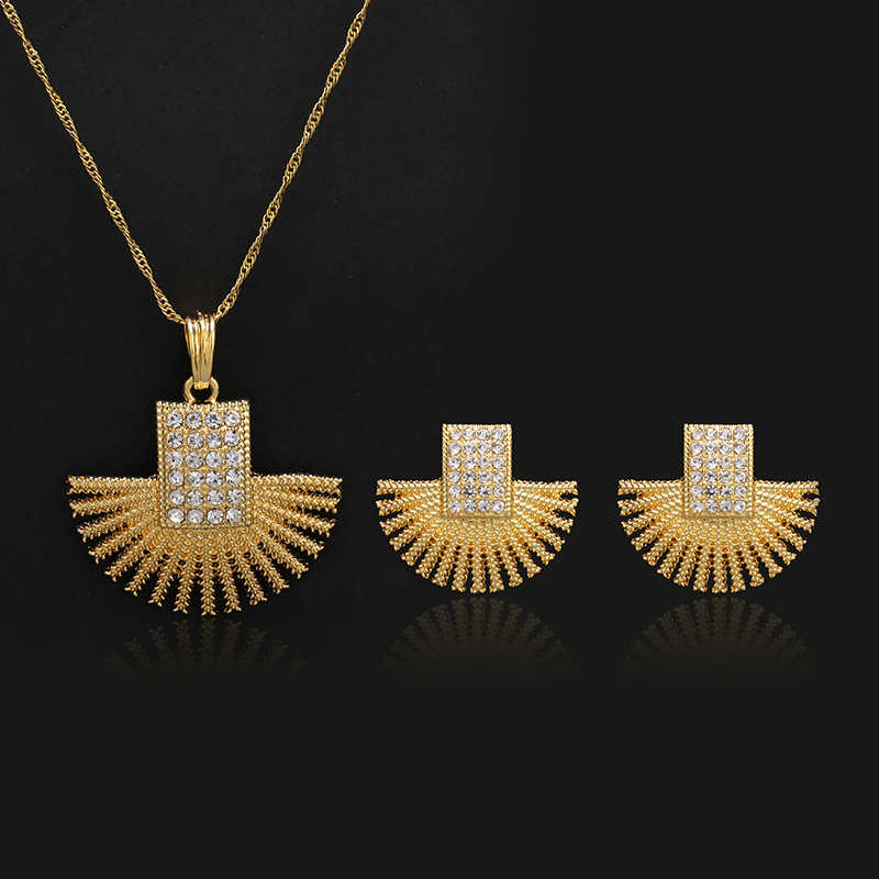 Conjuntos de joyas de color dorado para mujer niñas moda cristal austriaco Boda nupcial nigeriano africano fiesta collar pendientes regalos