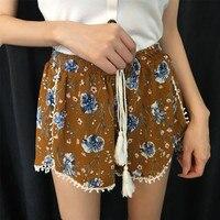 2017 קיץ 3 צבעים נשים ציצית קצרה פרח קצה הדפסת בגדים זולים מכנסיים קצרים בגדים נשיים מזדמן ישר מותניים אלסטי