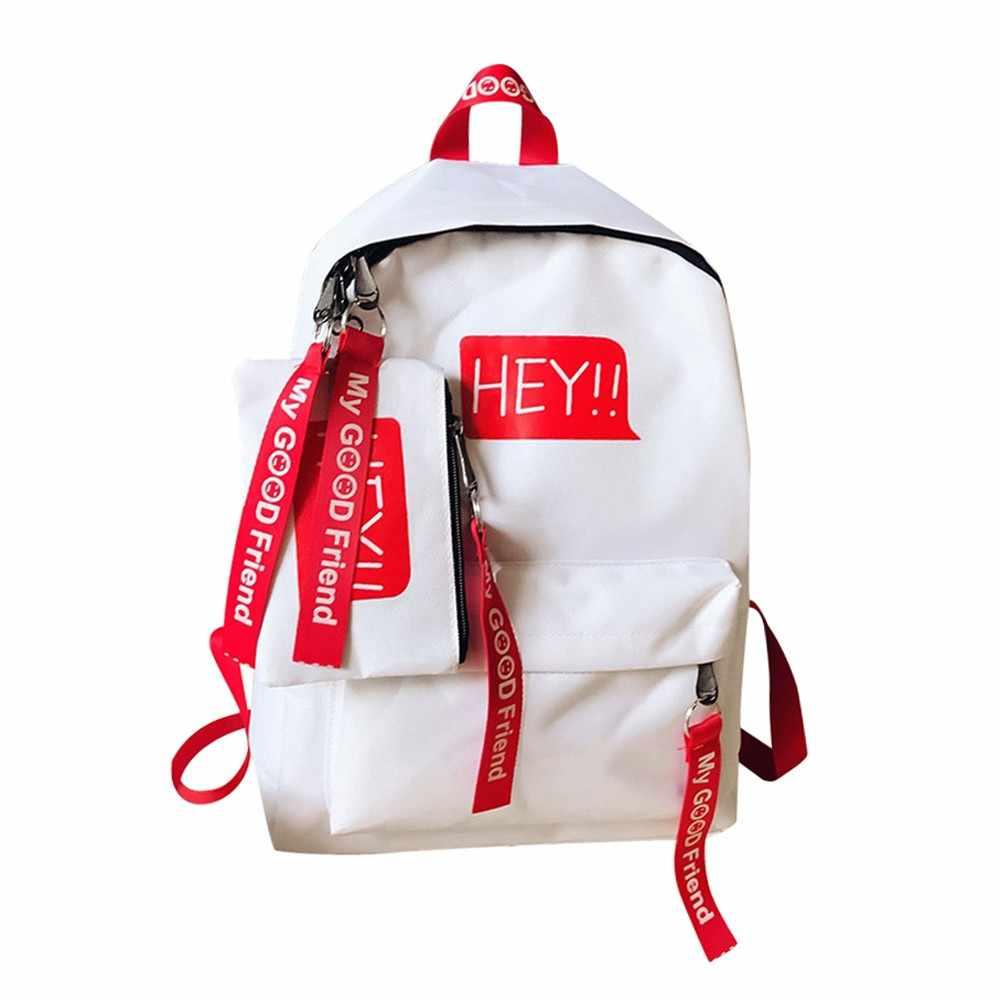 590d3101f ... 2019 Ladies Girls Fashion Canvas Letter Backpack Versatile Casual  Outdoor Travel Backpack Student Bag Bagpack Mochila ...