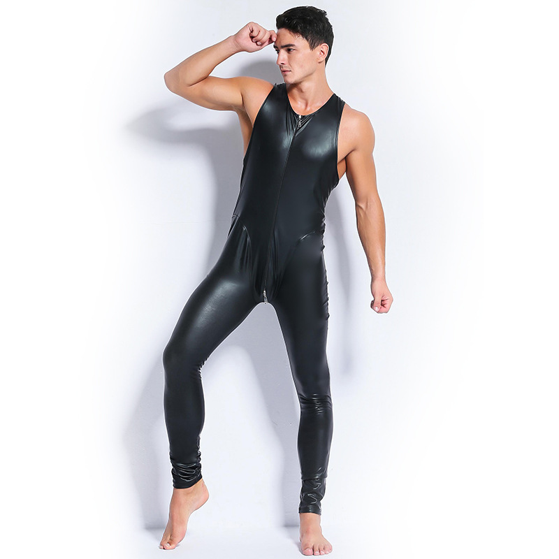 Plus Size Male Catsuit Skinny Faux Leather Black Red Stretch PVC Sexy Bodycon Sleeveless Zipper Jumpsuit Men Latex Bodysuit