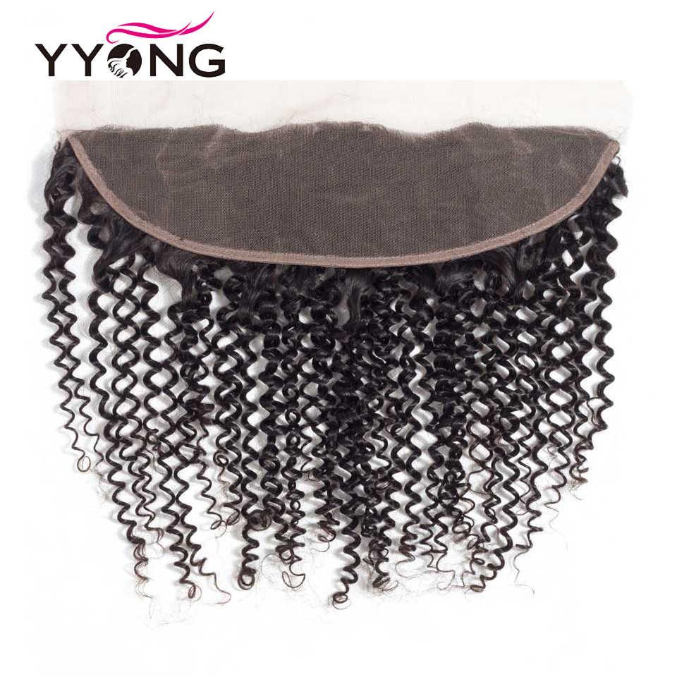 Yyong бразильские кудрявые вьющиеся человеческие волосы Кружева Фронтальная Закрытие 13*4 уха в ухо бесплатно/средний/три части швейцарское кружево Remy Бесплатная доставка