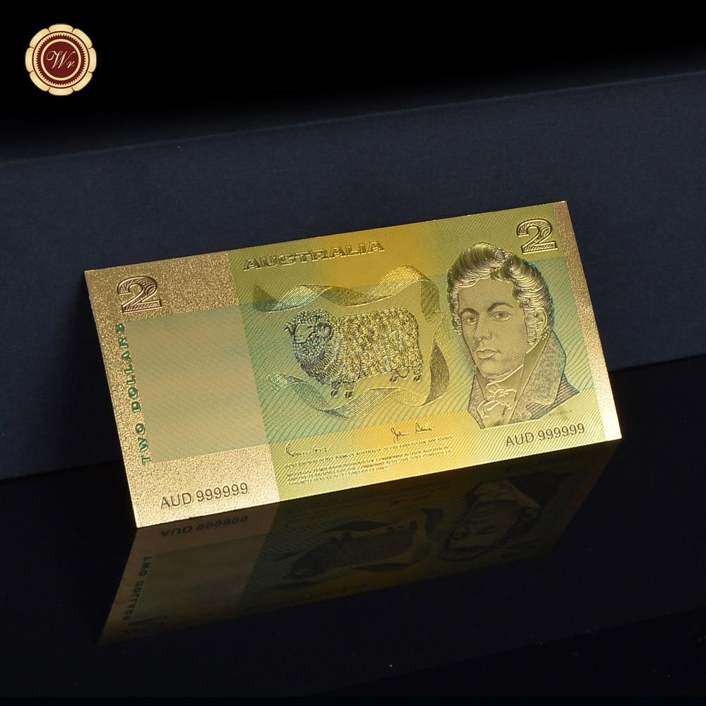 WR doğum günü hediyesi Avustralya Renkli Altın Banknot Ev Dekoratif Sanat El Sanatları 2 Dolar Bill Not Iş Hediyeler 1:1 Boyutu