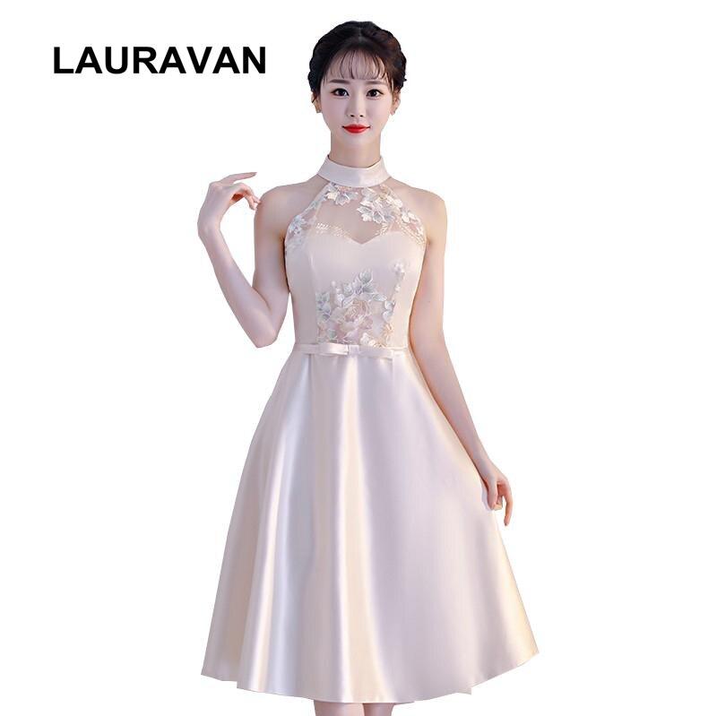 Formal Halter Top Beautiful Ball Wear Tea Length Bridesmaid Adult Women Girl Pretty Dresses For Girls Modest Formal Ball Gowns