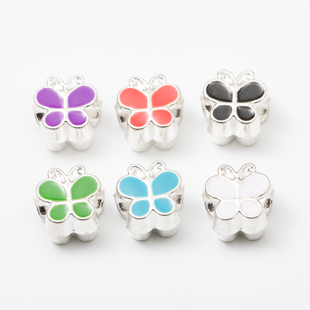 20pcs butterfly European beads Fit Pandora Charms Original Bracelet Spacer Charm Beads Jewelry Making DIY js1175