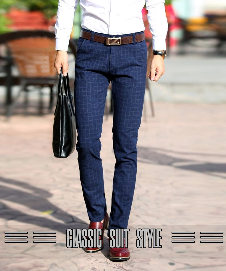 lace up in large assortment best sneakers US $30.59 |Plaid Pants Men Cotton Slim Fit Straight Elasticity Stretch  Classic Dress Pants Male Suit Business Casual Long Chino Trouser Men-in  Casual ...