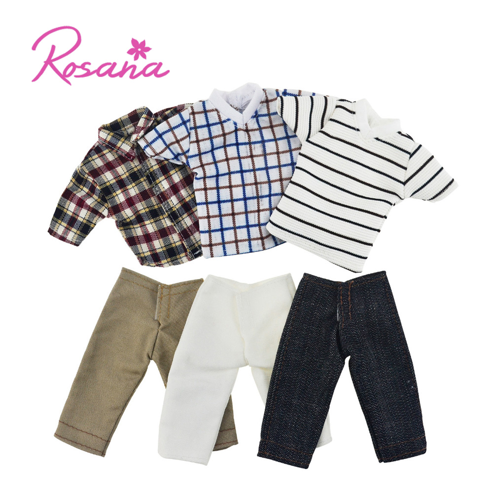 3 Set Summer Shirts + Jeans Outfit Casual Wear for Barbie Boy Friend Ken Dolls Stripes Checkered Clothes Pants Doll Accessories nk original prince clothes combat police uniform cop outfit for barbie boy male ken doll for lanard 1 6 soldier best gift 015a