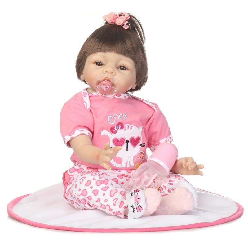 22inch Soft Silicone Reborn Doll Handmade Fashion Toddler Lovely Baby Girl Gifts Bebe Bonecas Children Toys Bebe Reborn Doll22inch Soft Silicone Reborn Doll Handmade Fashion Toddler Lovely Baby Girl Gifts Bebe Bonecas Children Toys Bebe Reborn Doll