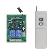 نظام مفتاح تحكم عن بعد لاسلكي 3000 متر لمسافة طويلة تيار مستمر 12 فولت 24 فولت 2 CH 2CH RF ، جهاز إرسال + مستقبل ، 315/433 ميجاهرتز