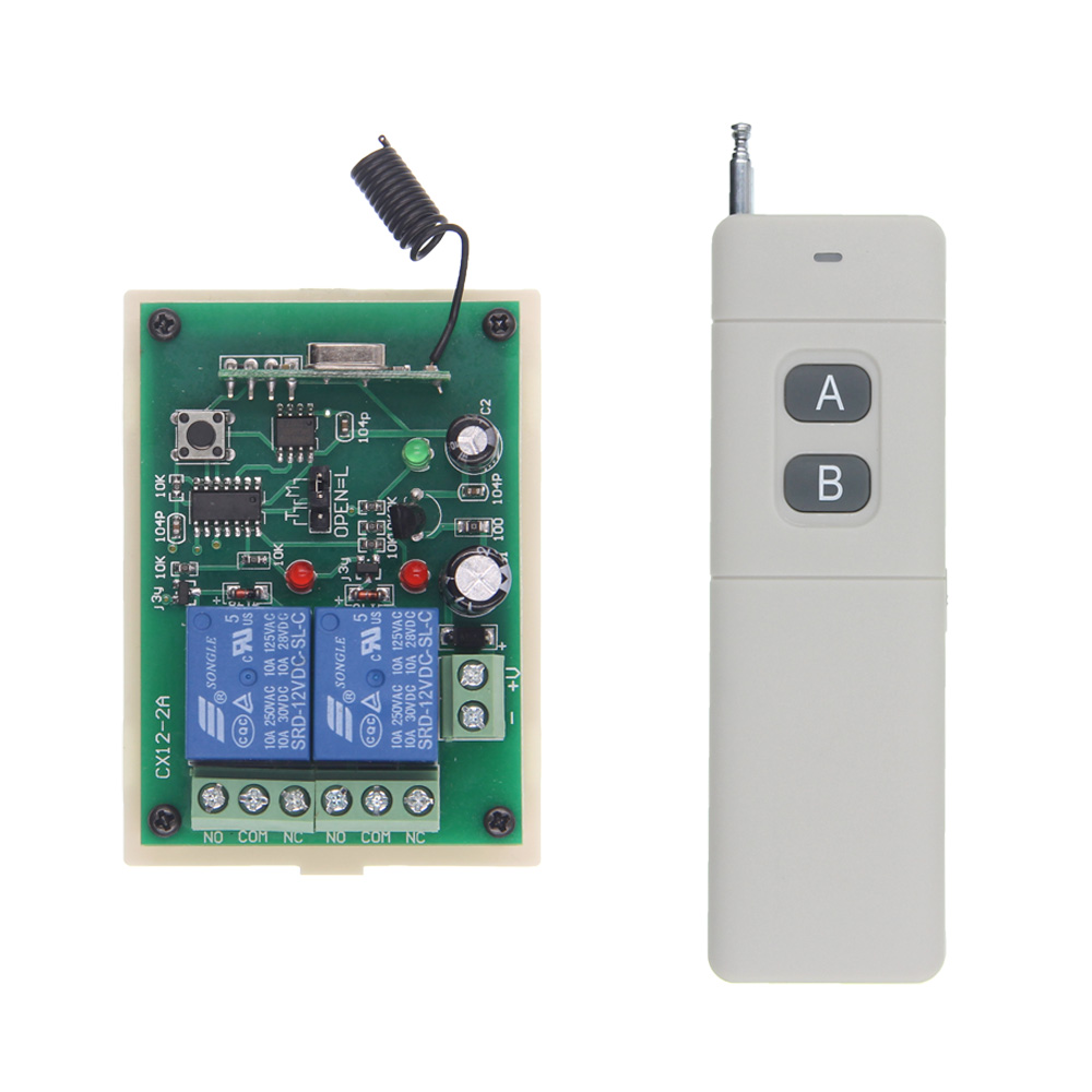 3000M Long Distance DC12V 24V 2 CH 2CH RF Wireless Remote Control Switch System,Transmitter + Receiver,315/433 MHz