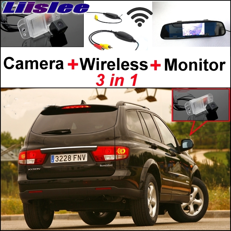 Liislee Wireless Receiver + Mirror Monitor Easy DIY Back Up Parking System For SsangYong Kyron + 3 in1 Special Rear View Camera for ford escape maverick mariner car parking sensors rear view back up camera 2 in 1 visual alarm parking system