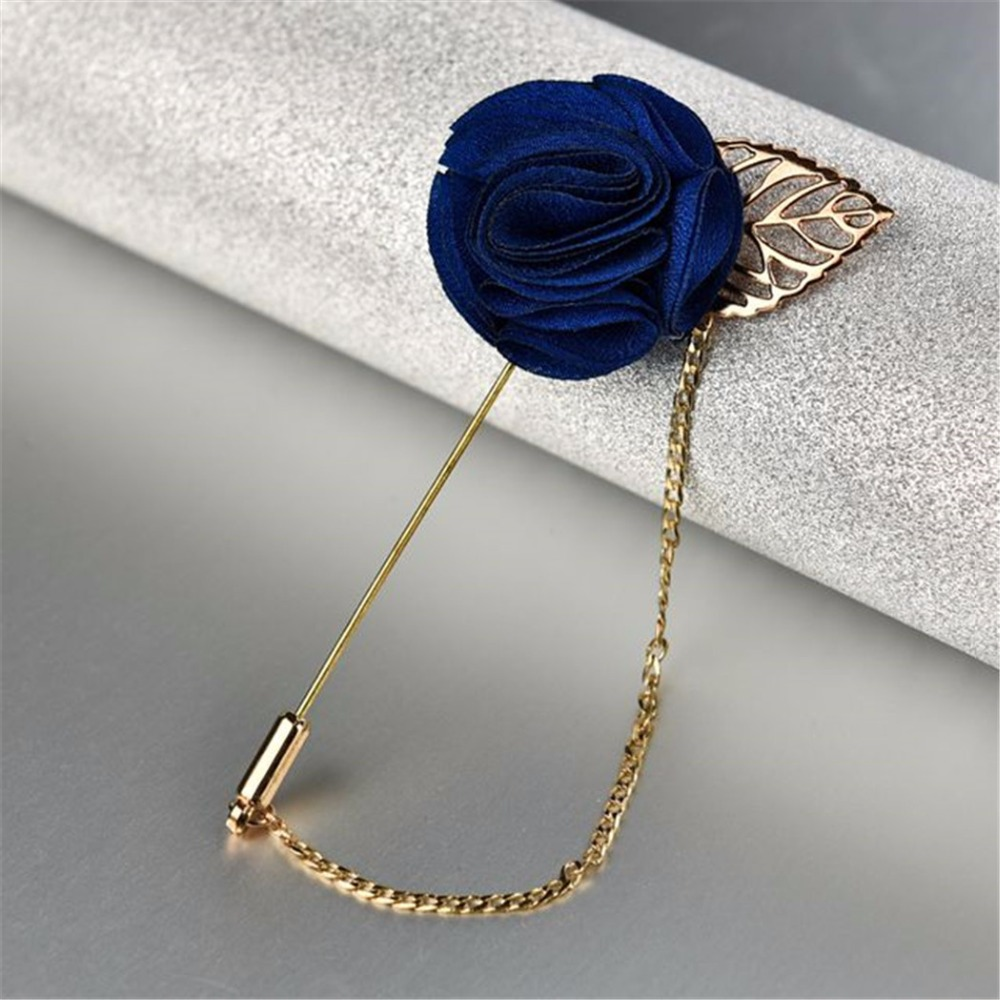 Mens jacket brooch - 3 Colors Cloth Rose Flower Gold Leaf Corsage Men S Brooches Suit Jacket Fashion Accessories Brooch Pins With Chain Marry Jewelry In Brooches From Jewelry