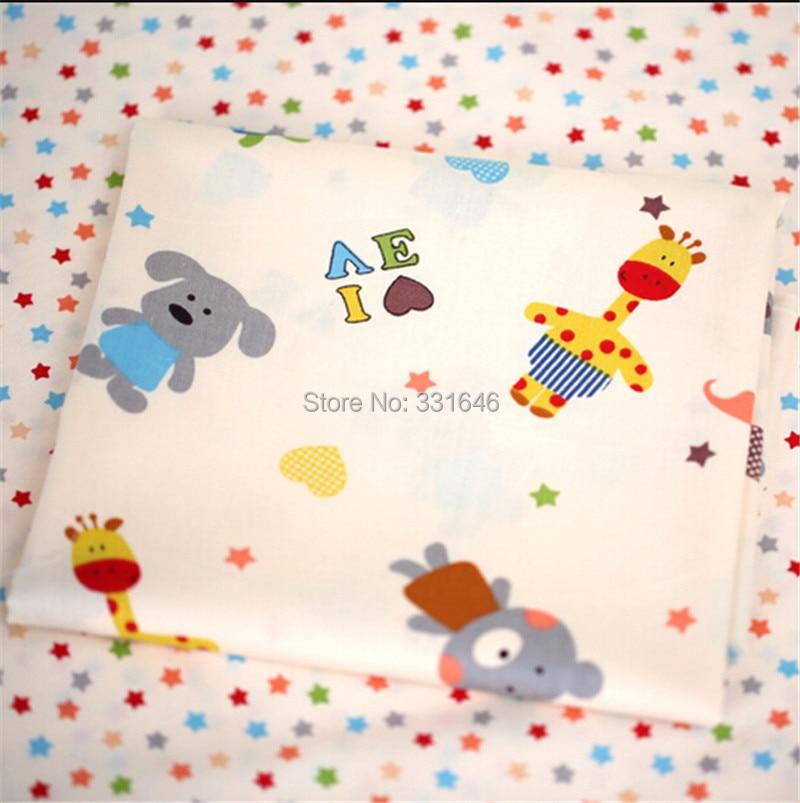 160*50cm Animals Stars Cotton Patchwork Fabric Telas Quilting Tilda Diy Baby Toy Tissu Sewing Bedding Textil Tecido - Amy Handmade Store store