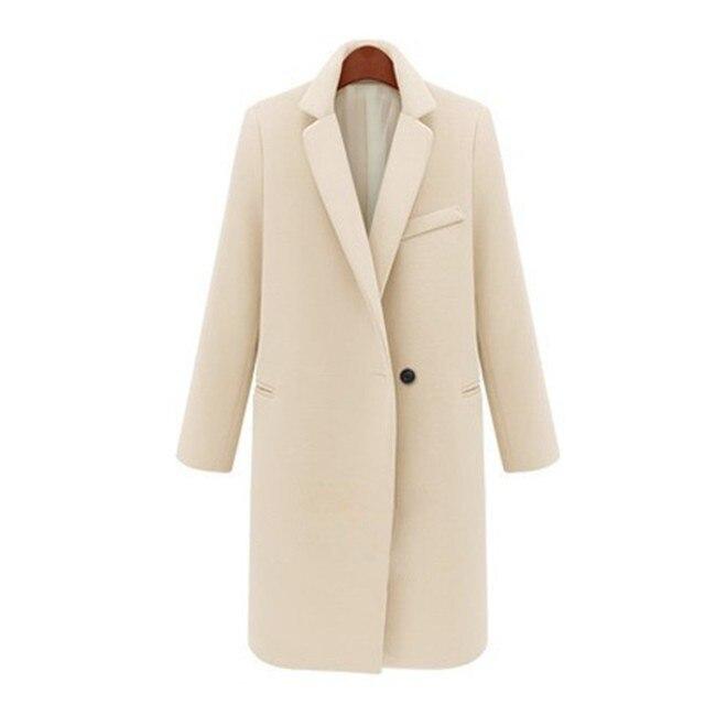 d57af37b132ba Manteau Hiver 2019 Hiver Manteau femmes élégant simple bouton chaud laine  Manteau Long cachemire pardessus Beige
