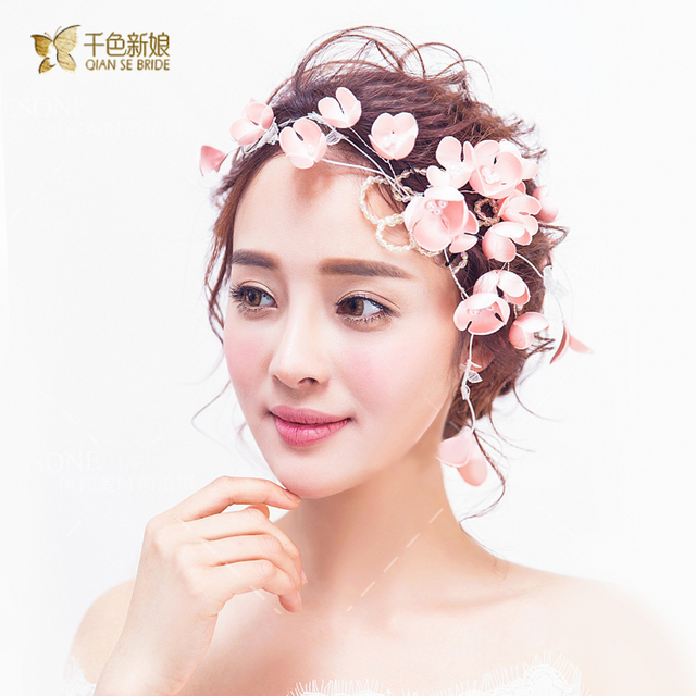 Fashion Pink Flower Headband Girl Forehead Pearl Jewelry Fascinator