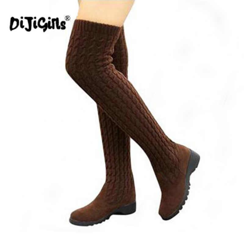 DIJIGIRLS 2018 Moda Örme Kadın Diz Yüksek Çizmeler Elastik Ince Sonbahar Kış sıcak Uzun Uyluk Yüksek Çizmeler Kadın Ayakkabı Boyutu 40