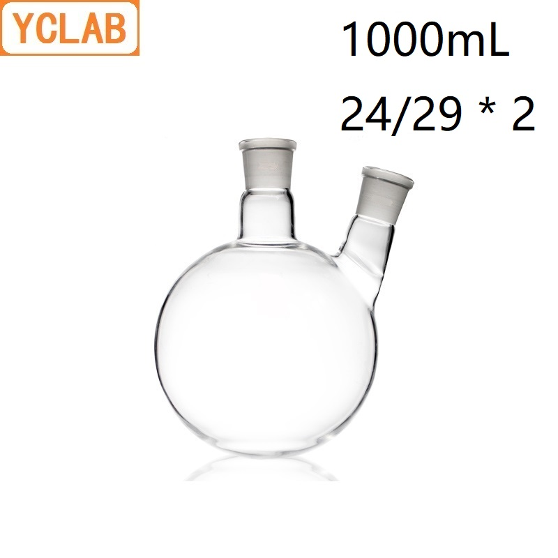YCLAB 1000mL 24/29 Distillation Flask Oblique Shape with Two Necks Standard Ground Mouths Distilling Round BottomYCLAB 1000mL 24/29 Distillation Flask Oblique Shape with Two Necks Standard Ground Mouths Distilling Round Bottom