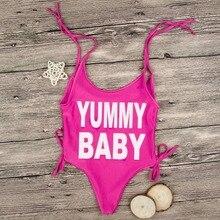 2018 Heißer Verkauf Kid Beachwear Rose Red Yummy Baby Brief Drucken Body Baby Mädchen Sommer Baby Sleeveless Onesie Strand Baby