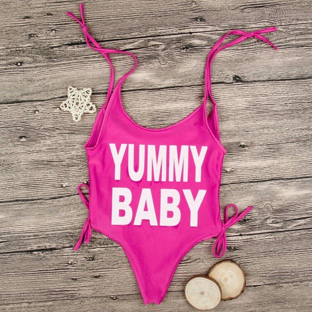 c7ea04a48b8fa 2018 Vente Chaude Enfant Beachwear Rose Rouge Yummy Bébé Lettre ...