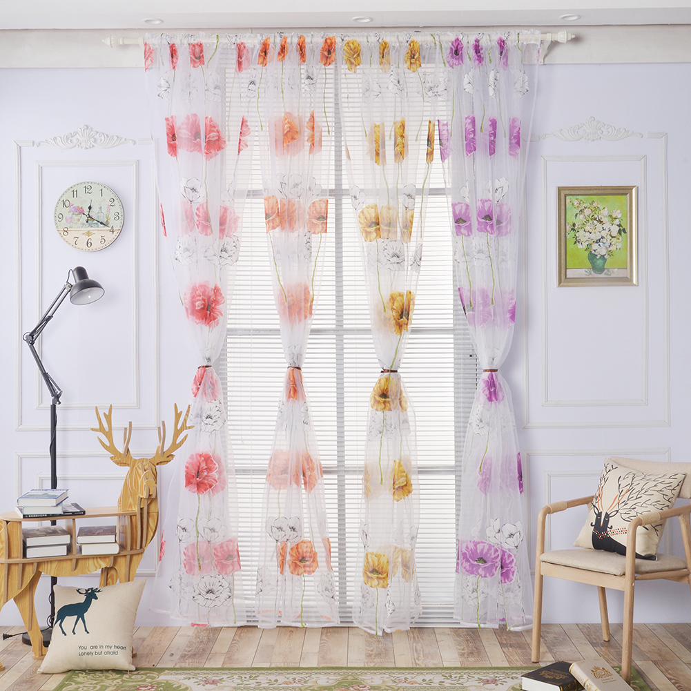 Orange curtains bedroom - Small Pure Fresh Cloth Pastoral Curtain For Living Room Bedroom Transparent Voile Curtains Orange Yellow Purple
