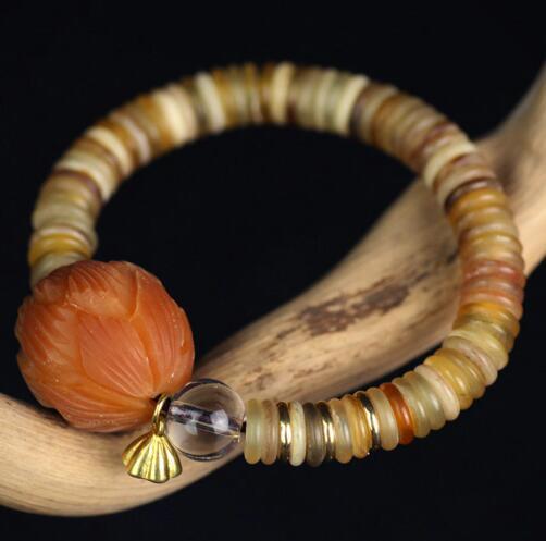 Handmade Beads Bracelet Tibetan Sheep Horn Beaded Bracelet Genuine Horn Beads Mala Bracelet