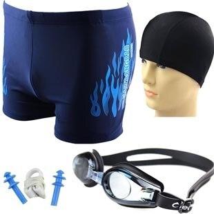 Free shipping~~Male swimwear waterproof anti-fog goggles fabric swimming cap meb's trunks