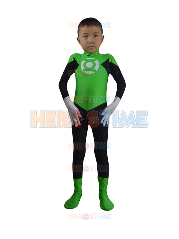 2015 kids Green Lantern Superhero Costume free shipping high Elasticity spandex children Green Lantern costume for party show