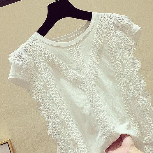 4XL dentelle Blouse 2019 femmes Blouses et hauts solide blanc bureau Chemise évider décontracté hauts Blusas Chemise Femme AA023S50